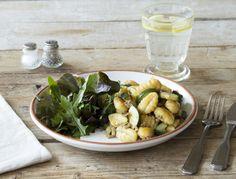 Gnocchi met bospaddestoelenpesto en courgette