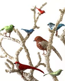 Create a glittery bird centerpiece.
