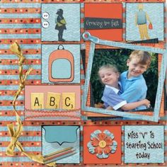 """Great layout using Backpack Blues mini by Arizona Girl. I love the way you held the ribbon with the pencils. The silhouettes in each corner are outstanding touches. I love how you """"underlined"""" the ABC tiles with the ric-racs (very creative)."""