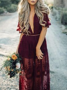 Sexy Perspective Lace Plunge Maxi Romper Dress
