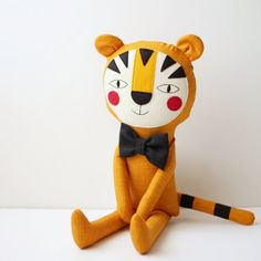 Tiger stuffed animal with an optional black bow tie. Nursery decor item. Tiger for children room decor. Birthday gift and baby shower idea