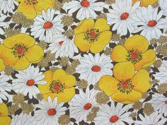 vintage yellow and white floral fabric