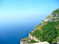 This is a great view of the road that follows the Amalfi Coast