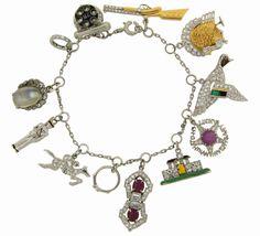 C 1920s Art Deco Diamond Multi Gem Enamel Gold Platinum Charm Bracelet