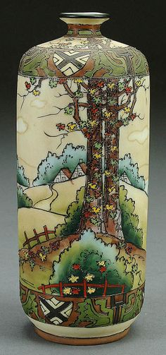 A NIPPON WOODLAND SCENE PORCELAIN VASE CIRCA 1900 WITH HAND PAINTED COUNTRYSIDE DECORATIIN WITH RAISED ENAMELING AND A GRIFFIN BORDER