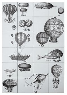 I previously wrote a long post on Fornasetti and many of their products almost exactly two years ago. Balloon Wall, Hot Air Balloon, Illustrations, Illustration Art, Piero Fornasetti, Italian Painters, Art Nouveau, Custom Design, Wall Art