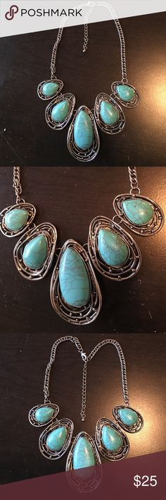 "Necklace Turquoise with silver tone Necklace Turquoise with silver tone  approximately 16"" with 2 1/2"" extension.   If I need it longer I always add one of my bracelets to extend my own necklaces. Jewelry Necklaces"
