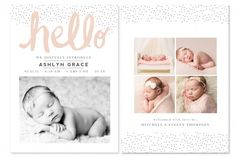 Hello and Welcome Birth Announcement Templates by Jamie Schultz Designs