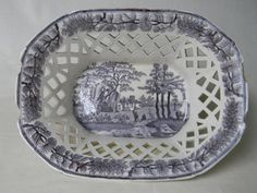 Staffordshire Circa 1810-25 Davenport Reticulated Gray ish Black Transferware Chestnut Bowl Darling Butterfly Catching Scenery