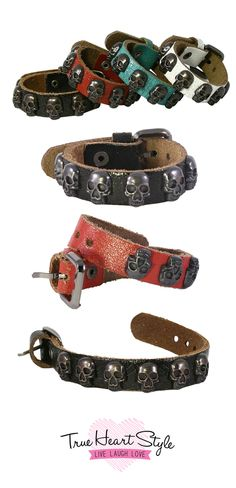 Perfect Halloween Accessory!! Skull-Studded Leather Bracelet Band with Belt Closure