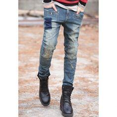 Cheap Wholesale Slim Fit Patch Destroy Design Men's Denim Jeans (BLUE,M) At Price 27.14 - DressLily.com