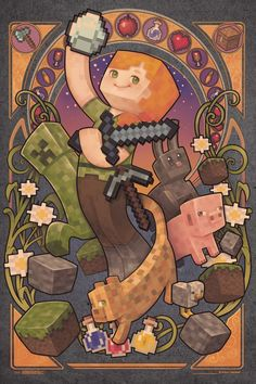 Minecraft Alex Nouveau Artwork Video Gaming Poster Share this Awesome Product 🙂 Minecraft Anime, Minecraft Png, Espada Minecraft, Minecraft Kunst, Minecraft Posters, Minecraft Banner Designs, Minecraft Sword, Minecraft Banners, Minecraft Video Games
