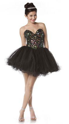 Black Pixie Prom Dress Short Strapless Sweetheart Neck Poofy Skirt $267.99