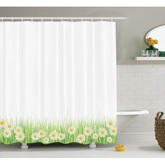 Flower Decor Shower Curtain Set, Daisies In The Grass On Plain Background Modern Floral Print Country Style Decor, Bathroom Accessories, X Inches, By Ambesonne Bathroom Curtain Set, Bathroom Window Curtains, Shower Curtain Sets, Country Decor, Country Style, Led Lighting Home, Curtain Lights, Beautiful Bathrooms, Bathroom Accessories