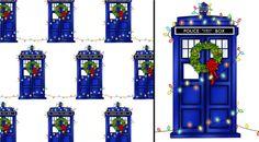 Christmas Police Phone Box Gift Wrap by merrypranxterdoesart