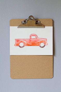 Camion illustration aquarelle enfant garçon déco chambre Style Retro, Decoration, Illustration, Hobby Lobby Bedroom, Child Room, Watercolor Painting, Red, Drawing Drawing, Decorating