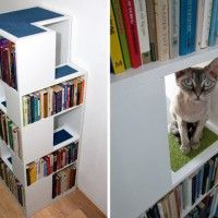 Contemporary CatCase Bookshelf Houses Cats and Books    Most cat furniture is well...ugly. This is very cool. Too bad the company is in Europe. Might have to figure out how to make one.