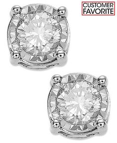 Shop for All Fine Jewelry online at Macys.com. Give your look a glamorous upgrade with these glimmering earrings courtesy of TruMiracle®. Crafted from 14k white or yellow gold, they feature a stud silhouette bejeweled with a round-cut diamond (3/4 ct. t.w.). Approximate diameter: 1/5 inch.