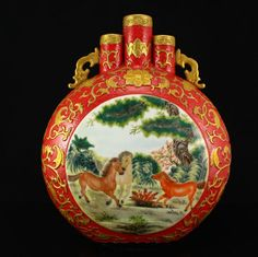 Chinese Gilt Gold Relief Enamels Porcelain Moon Vase 中國清代 鎏金琺瑯彩瓷器花瓶