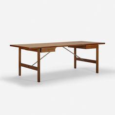 Hans J. Wegner desk, model AT325 A | Andreas Tuck | Denmark, 1960 | teak, matte chrome-plated steel