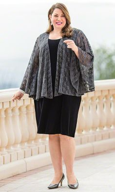 Lace Jacket & Little Black Dress / MiB Plus Size Fashion for Women
