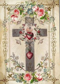 Sacred Heart of Jesus and the Immaculate Heart of Mary on the cross. Religious Images, Religious Icons, Religious Art, Catholic Pictures, Jesus Pictures, Vintage Holy Cards, Christian Images, Heart Of Jesus, Catholic Art