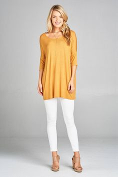 dbfe5c9965b Band elbow sleeve round neck rayon spandex jersey tunic top