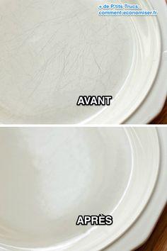 Voici l'astuce pour faire disparaître ces vilaines traces sur vos assiettes.  Découvrez l'astuce ici : http://www.comment-economiser.fr/astuce-pour-assiettes-rayees.html?utm_content=buffer6d616&utm_medium=social&utm_source=pinterest.com&utm_campaign=buffer