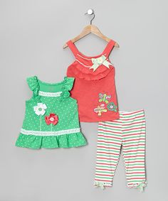 Take a look at this Green Stripe Pants Set - Infant & Toddler on zulily today!