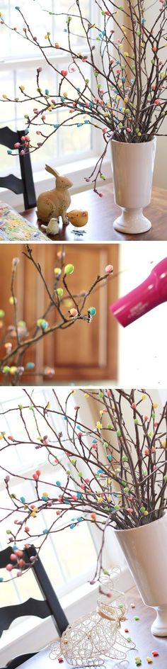 Fabric Easter Basket Decor Ideas for the Home Jelly Bean Tree Spring Crafts, Holiday Crafts, Oster Dekor, Easter Tree Decorations, Easter Garland, Spring Decorations, Diy Osterschmuck, Easter Crafts For Kids, Easter Ideas