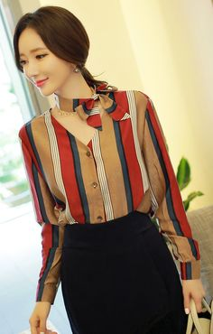 StyleOnme_Pinstripe Ribbon Necktie V-Neck Blouse #autumnlook #seoul #kstyle #pinstripe #blouse #chic #koreanfashion #falltrend #fallcolors #elegant #feminine #fallfashion