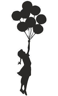 BANKSY GIRL FLOATING WITH BALLOONS WALL STICKER GRAFFITI VINYL DECAL ART