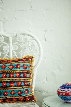 EMBROIDERED DAISY CHAIN Daisy Chain, Cushions, Pillows, Color Splash, Vibrant, Colours, Handmade, House, Design