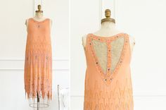 Vintage Art Deco Silk Handmade & Embroidered Glass Beaded Flapper Dress - 1920's