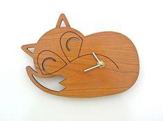 Wood Sleeping Fox Clock: Woodland Modern Nursery Decor by graphicspaceswood on Etsy https://www.etsy.com/listing/206381111/wood-sleeping-fox-clock-woodland-modern