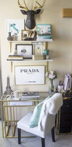 Dreamy home office that's equally functional and fabulous. Also this blogger talks about how to create a beautiful office in a small space and on a budget
