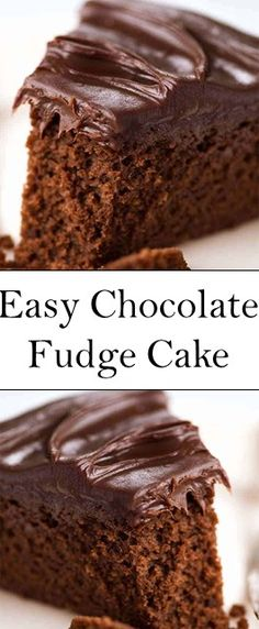 Easy Chocolate Fudge Cake from 90 votes - or hover to scale Recipe video above. This cake is rich, very chocolatey an. Easy Cake Recipes, Healthy Dessert Recipes, Easy Desserts, Dinner Recipes, Cooking Chocolate, Chocolate Recipes, Easy Chocolate Fudge Cake, Single Layer Chocolate Cake Recipe, Cake Tasting