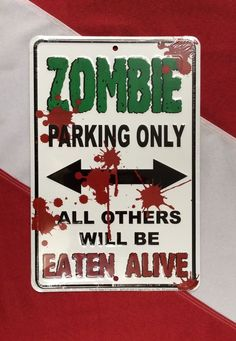 Zombie parking only metal SIGN scuba dive equip novelty mothers day GIFT FUN  #Signs4fun