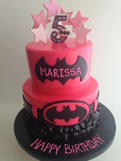 Hot pink Batman cake