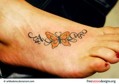 Butterfly tattoo on foot