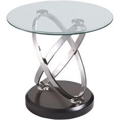 Emerald Home Furnishings Contemporary Vision Glass Top End Table ($270) ❤ liked on Polyvore featuring home, furniture, tables, accent tables, silver, colored furniture, colored end tables, polish furniture and emerald home furnishings