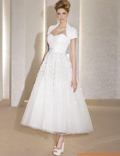 Robe de mariée mi-longue avec boléro