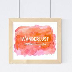 Wanderlust Arrow Print  Watercolor Travel Art  by StudioPrintables