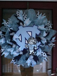 UNC deco wreath with handmade vinyl sign