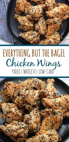 Everything but the bagel chicken wings are a family friendly recipe that's simple and delicious. It's Paleo, and this low carb chicken wing recipe is baked and not fried. The perfect paleo appetizer, snack or game day recipe! via chicken wings recipe Whole 30 Chicken Recipes, Whole 30 Recipes, Chicken Snacks, Recipe Chicken, Baked Chicken, Paleo Appetizers, Appetizer Recipes, Shrimp Appetizers, Paleo Recipes