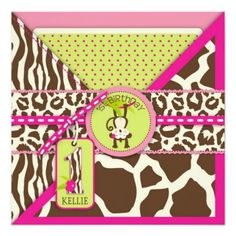 Jungle Monkey First Birthday Invitation Pink