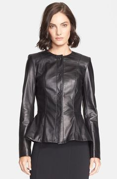 St. John Collection Nappa Leather Peplum Jacket available at #Nordstrom