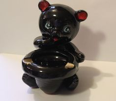 Vintage Great Smoky Mountains Redware Painted Black Teddy Bear Ashtray ~ Nice!