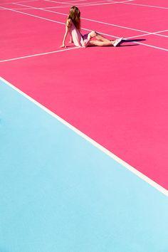 The pink tennis court of The Madonna Inn in San Louis Obispo