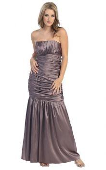 Gray Mermaid/Trumpet Strapless Dropped Ankle-length Sleeveless Ruffles Elastic Silk-like Satin Prom Dresses Dress